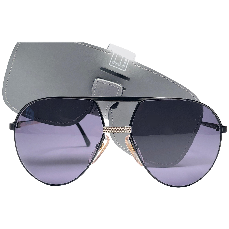 New Vintage Dunhill 6042 Black Frame Aviator Grey Lenses Sunglasses France