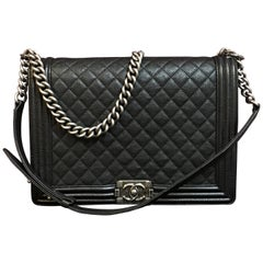 CHANEL Large Boy shoulder bag black quilted caviar / calfskin 2016
