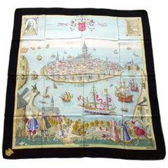 Hermès Vintage Silk Scarf St Malo 1586 Saint Malo Hugo Grygkar 1947 Ultra Rare