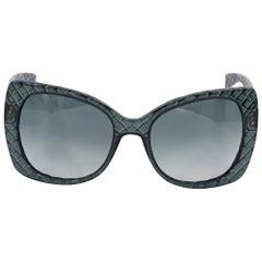 Dark Grey Bottega Veneta Quilted Oversized Sunglasses