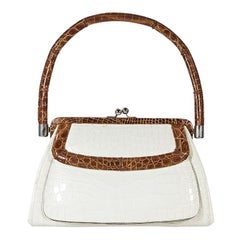White & Brown Suarez Alligator Shoulder Bag