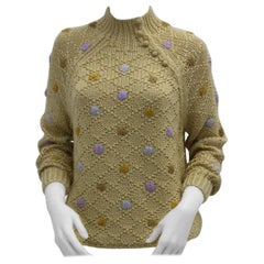Oscar de la Renta Sport Brown Vintage Knit Sweater