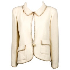 2010 Chanel Unworn Runway Look Cream Jacket With Gold Thread Trim