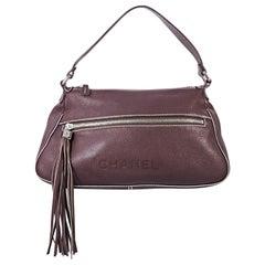 Burgundy Vintage Chanel Pebbled Leather Shoulder Bag