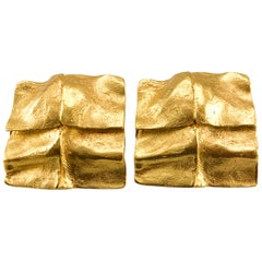 1980's Yves Saint Laurent 'Molten Gold' Clip-on Earrings, by Robert Goossens