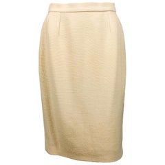 1980's Chanel Cream Wool Skirt With Knitted Side Stripe