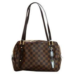 Louis Vuitton LV Brown Coated Canvas Damier Ebene Rivington PM Shoulder Bag