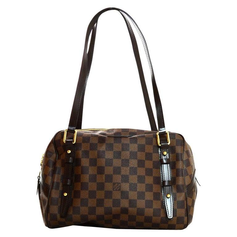 b80d0629f76 Louis Vuitton LV Brown Coated Canvas Damier Ebene Rivington PM Shoulder Bag  For Sale