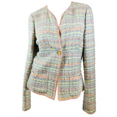 Chanel One Button Tweed Jacket.