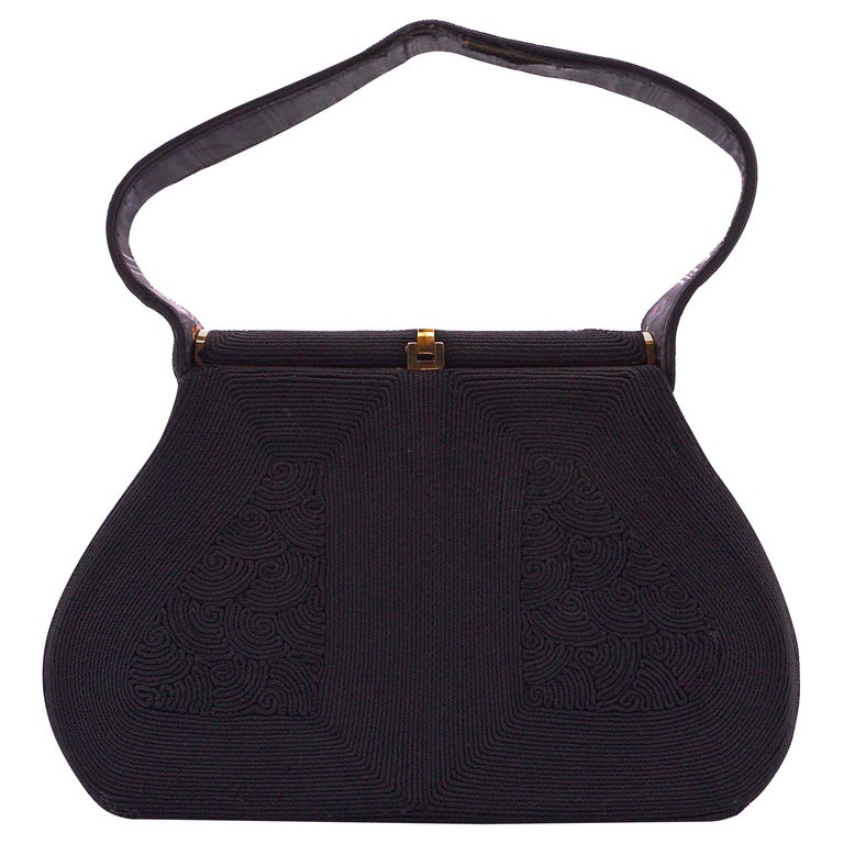 1940s Black Cordé Handbag with Gold Tone Metal Fittings, Made in England For Sale