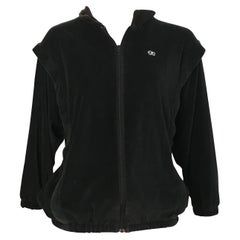Oscar de la Renta 1980s Black Velour Active Wear Jacket Size Medium.