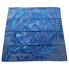 Hermès Silk Scarf De Madras A Zakynthos Turtle Blue White 90 cm