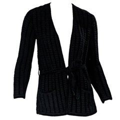 Black Vintage Yves Saint Laurent Rive Gauche Wool-Blend Cardigan