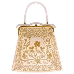 1950s Lucite Vinyl Cream Satin with Rhinestones Pearls Golden Embroidery Handbag