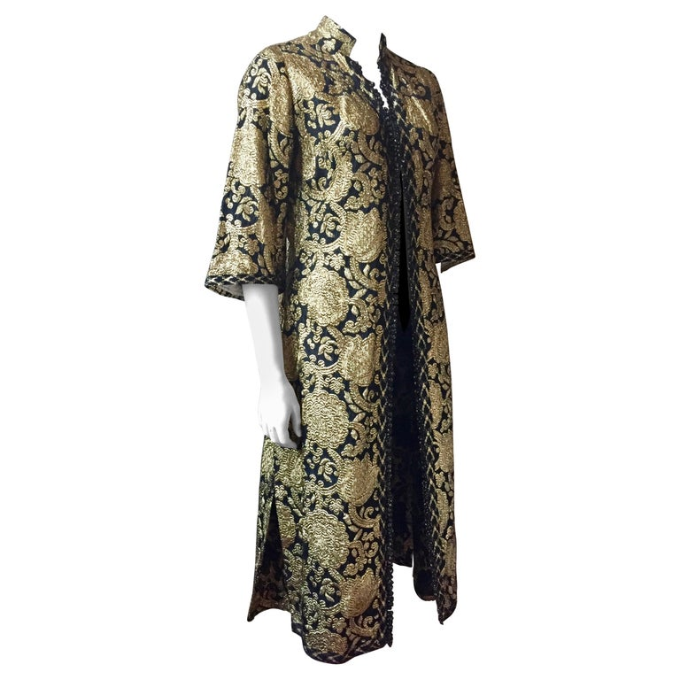 Vintage Gold and Black Brocade Dress/Jacket with Knot Buttons For Sale