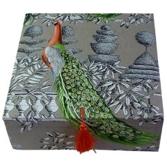 Birds Printed Fabric Decorative Storage Box for Scarves
