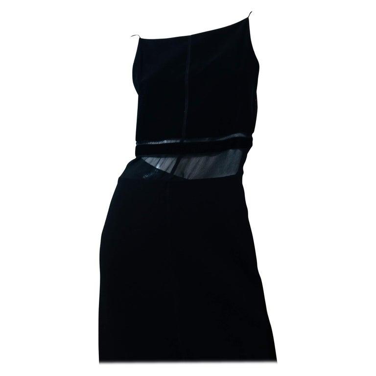 Prada Black Cotton Spaghetti Strap Dress With Velvet Panels And Sheer Bodice