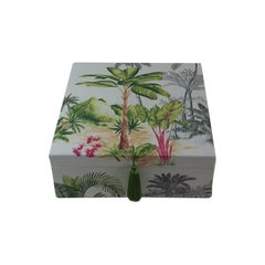 Palm Tree Printed Fabric Decorative Storage Box for Scarves