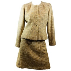Chanel Gold 2 PC Skirt Suit