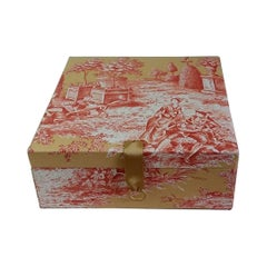Manuel Canovas Fabric Toile de Jouy Decorative Storage Box for Scarves