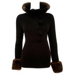 Oscar de la Renta Wool Crochet Sweater W/ Denmark Mink Trimmed Collar and Cuffs
