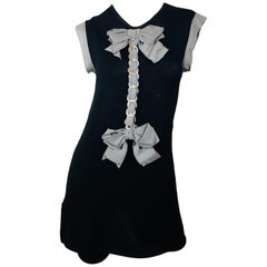 Chanel Navy Short Sleeve Dress With Bow Detail