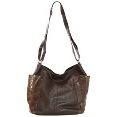 Jimmy Choo Brown Leather & Snakeskin Anna Hobo Bag w/ Side Pockets