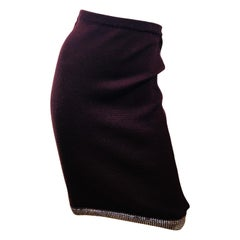 Chanel Maroon Wool Skirt
