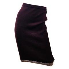 Chanel Maroon Wool Skirt