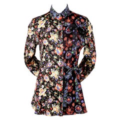 CELINE by PHOEBE PHILO floral printed silk shirt with ties