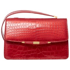 TYLER ELLIS Candy Medium Red Metallic Alligator Gold Hardware