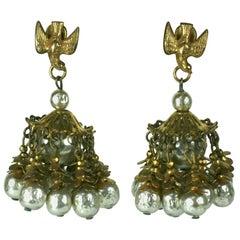 Miriam Haskell Large Pearl Tassel Earrings