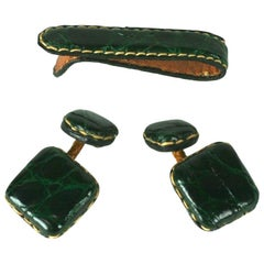 Art Deco Alligator Cufflinks and Tie bar Set
