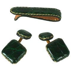 Art Deco Set aus Manschettenknöpfen und Krawattennadel aus Alligatorleder