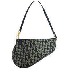 Christian Dior Navy Blue Monogram Canvas Saddle Pochette Bag w. Dust Bag & Box