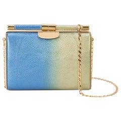 TYLER ELLIS Jamie Clutch Small Gold/Blue Bichrome Lizard Gold Hardware