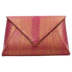 TYLER ELLIS Lee Pouchet Large Pink/Gold Ostrich Leg Gold Hardware