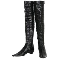 Tom Ford for Gucci F/W 1997 Crocodile Embossed Patent Leather Over Knee Boots 39