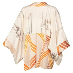Vintage Silk Cream and Gold Shibori Bamboo Print Reversible Kimono Jacket