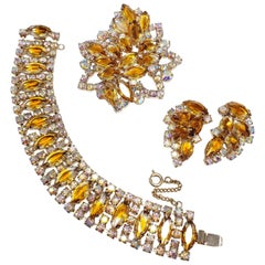 Vintage Demi Parure Aurora Borealis & Amber Crystals Earrings Bracelet Necklace