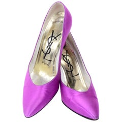 "Purple Satin YSL Yves Saint Laurent Vintage Pumps 1990s Shoes w/ 3"" Heels 7.5"