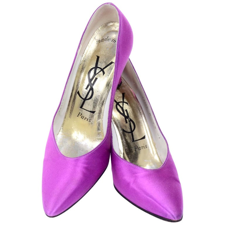 "Purple Satin YSL Yves Saint Laurent Vintage Pumps 1990s Shoes w/ 3"" Heels 7.5 For Sale"