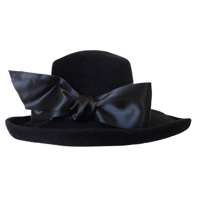 1960s Leslie James Genuine Black Velour Wide Brim Bowler Hat For Sale 41152dc41d2