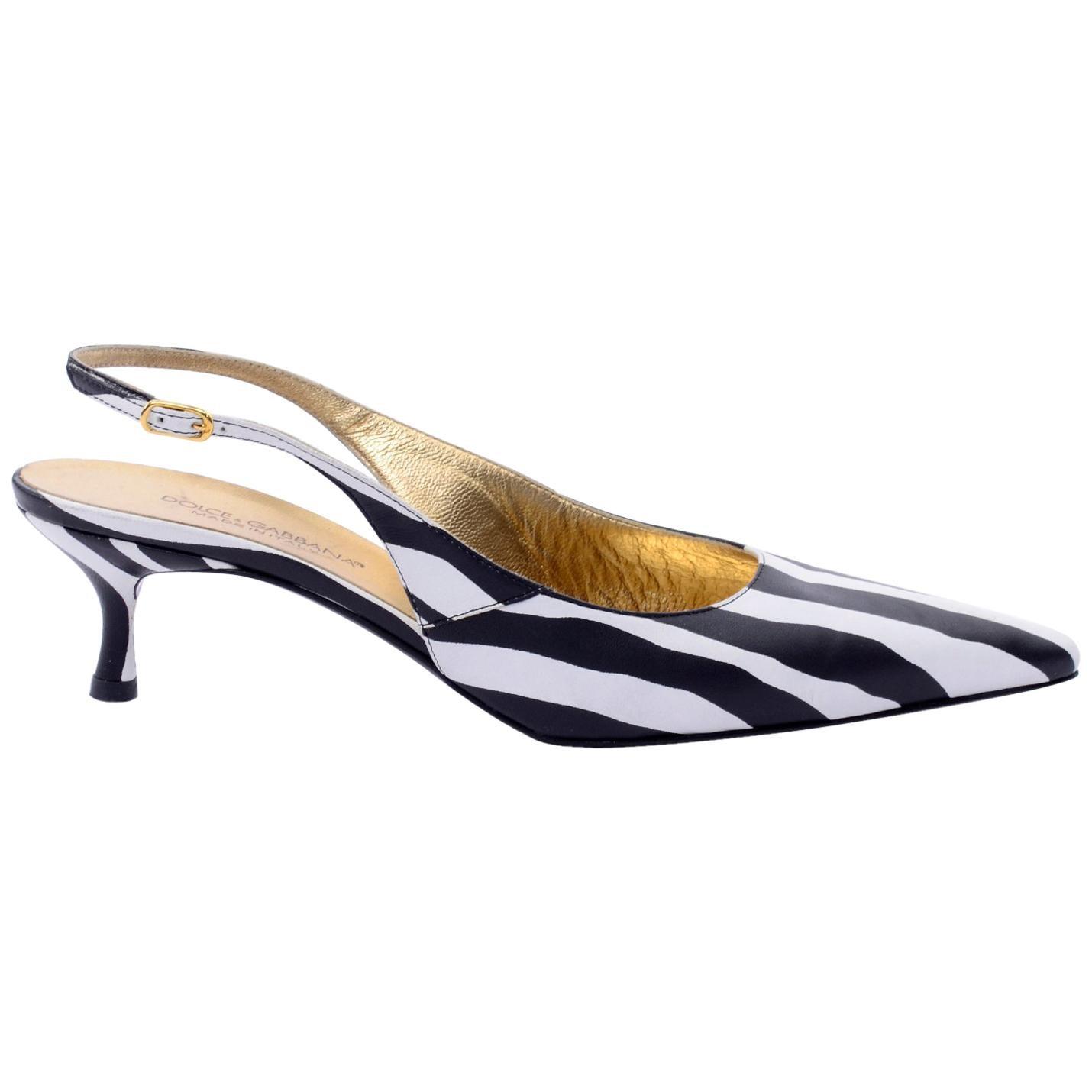 Dolce & Gabbana Zebra Stripe Shoes Vintage Sling Back Kitten Heels in Size 38