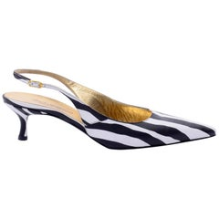 Dolce & Gabbana Zebra Stripe Shoes Vintage Sling Back Kitten Heels in Size 38