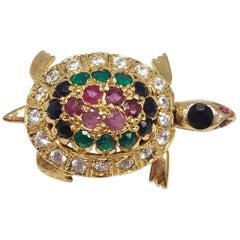 Pave Gemstone Vermeil Turtle Brooch/Pin/Pendant Genuine Rubies Emeralds Sapphire