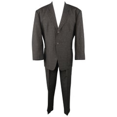 YOHJI YAMAMOTO M Charcoal Textured Wool Blend Striped Notch Lapel Suit