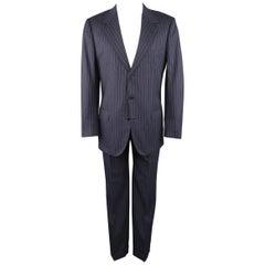 BRIONI 42 Long Navy Striped Wool Notch Lapel Suit