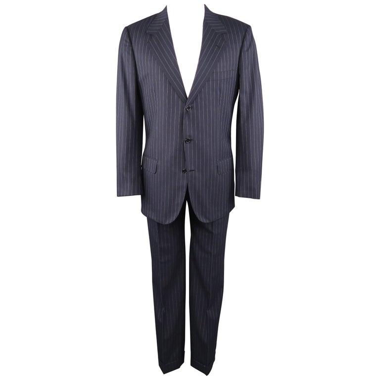 7ec77edc7e7e34 BRIONI 42 Long Navy Striped Wool Notch Lapel Suit at 1stdibs