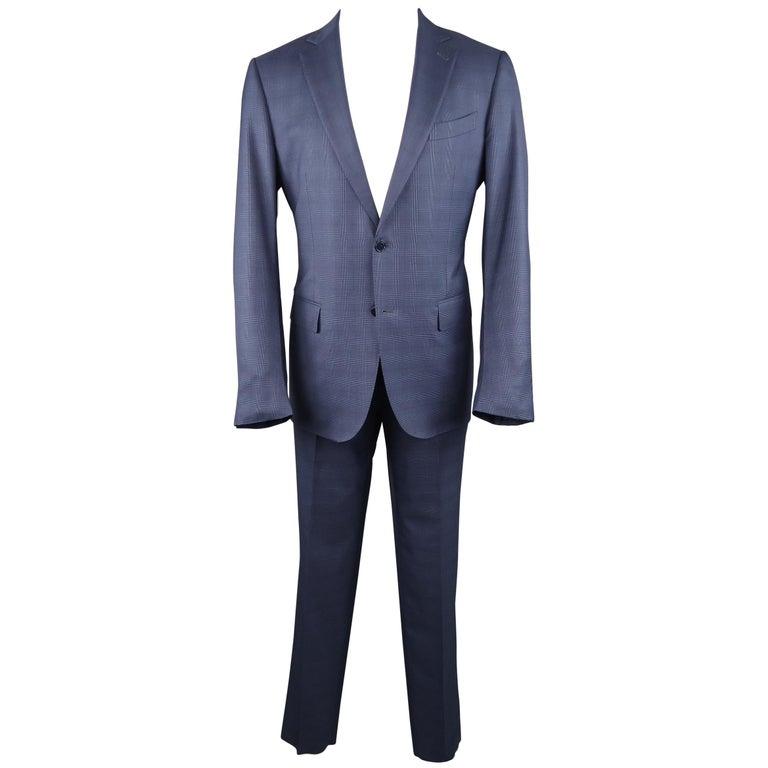 3845a273 ERMENEGILDO ZEGNA 42 Steel Blue Glenplaid Wool / Silk Notch Lapel Suit